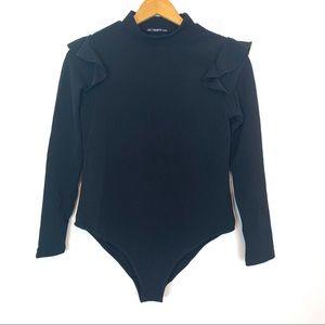 Shein womens bodysuit Black 0xl ruffle shoulder